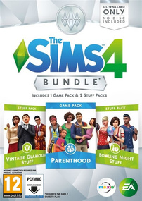 The Sims 4: Bundle Pack #5 (Parenthood, Vintage Glamour Stuff, Bowling Night Stuff) packshot box art